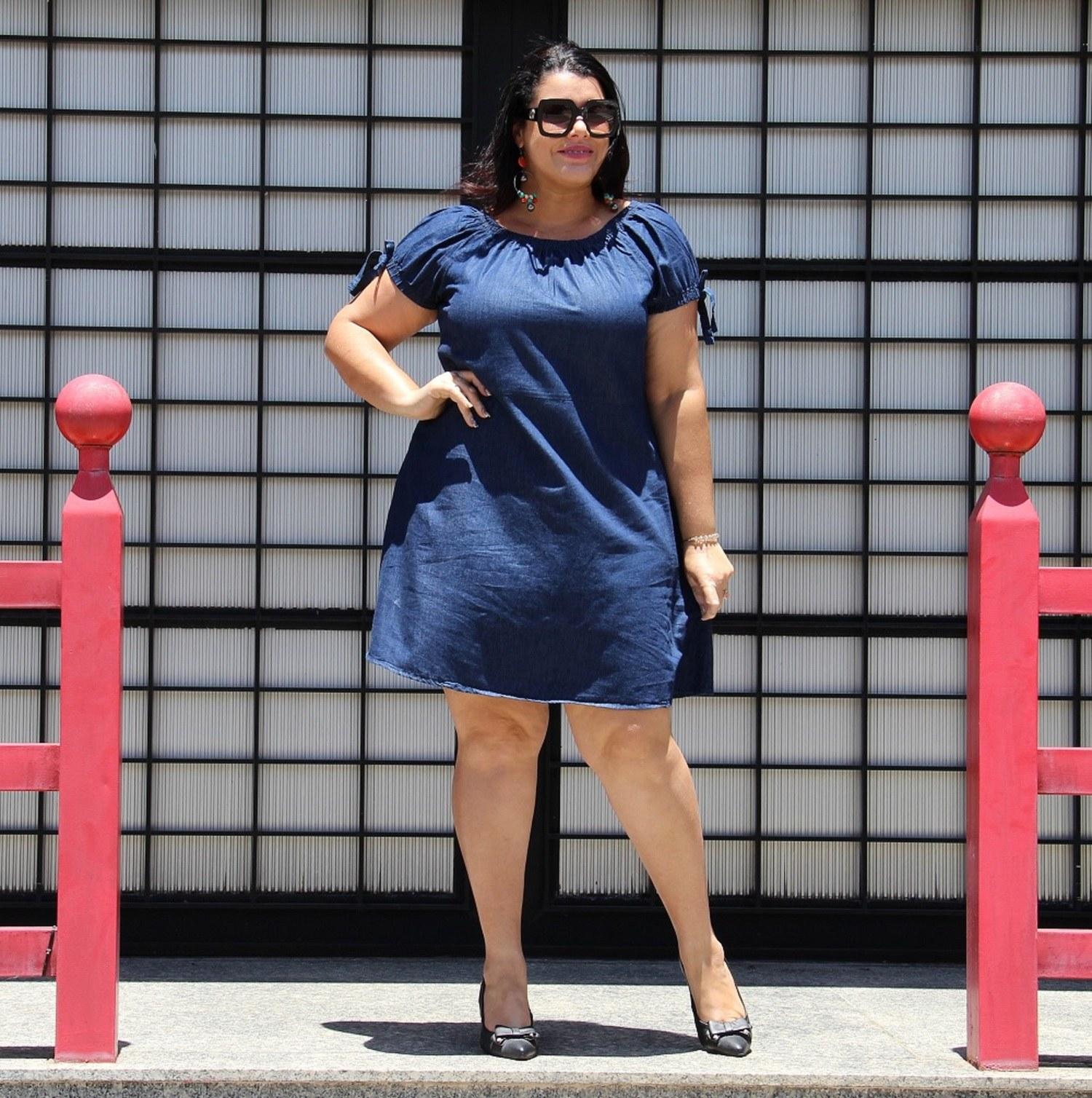 Vestido curto tipo ciganinha jeans Posh Eruptionjeans-Plus Size AMA [3413]