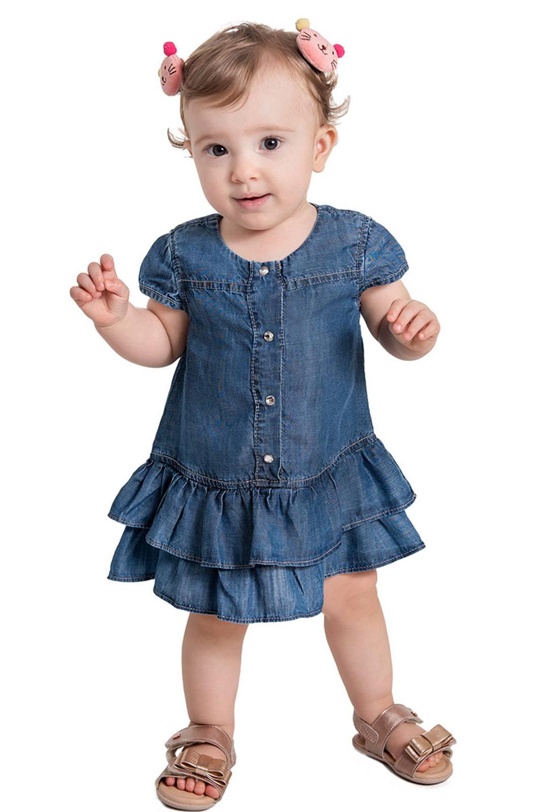 Vestido Jeans com Barra Dupla Ref. 567
