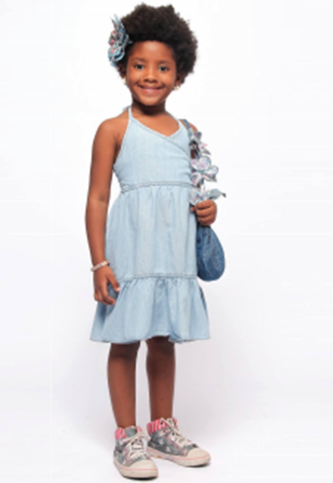 Vestido Jeans Infantil com Alcinha Ref. 276
