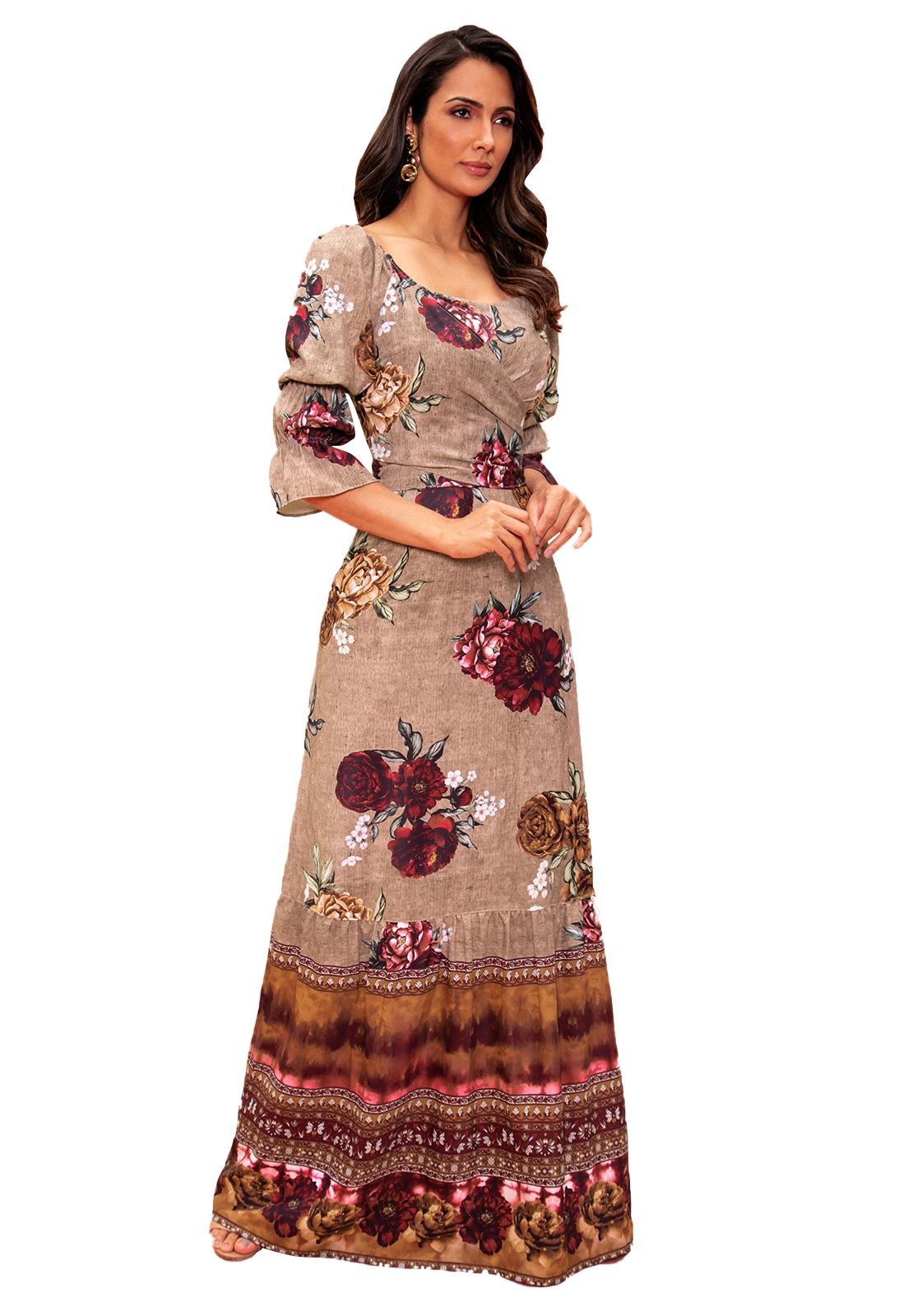 Vestido Longo Crepe Feminino Fasciniu's Moda Evangélica - Cor:Marrom-Tam:M