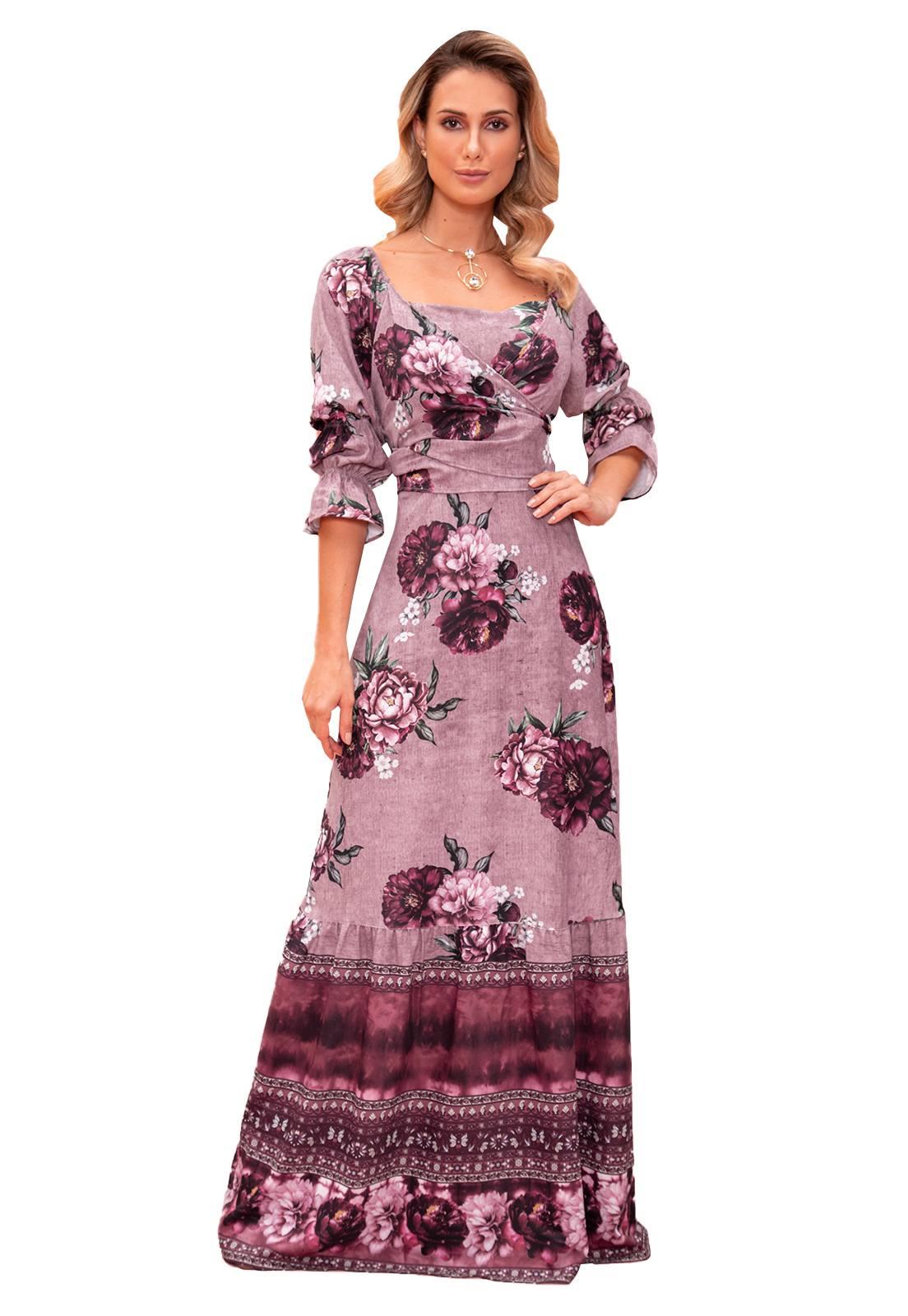 Vestido Longo Crepe Feminino Fasciniu's Moda Evangélica -Rosê-G