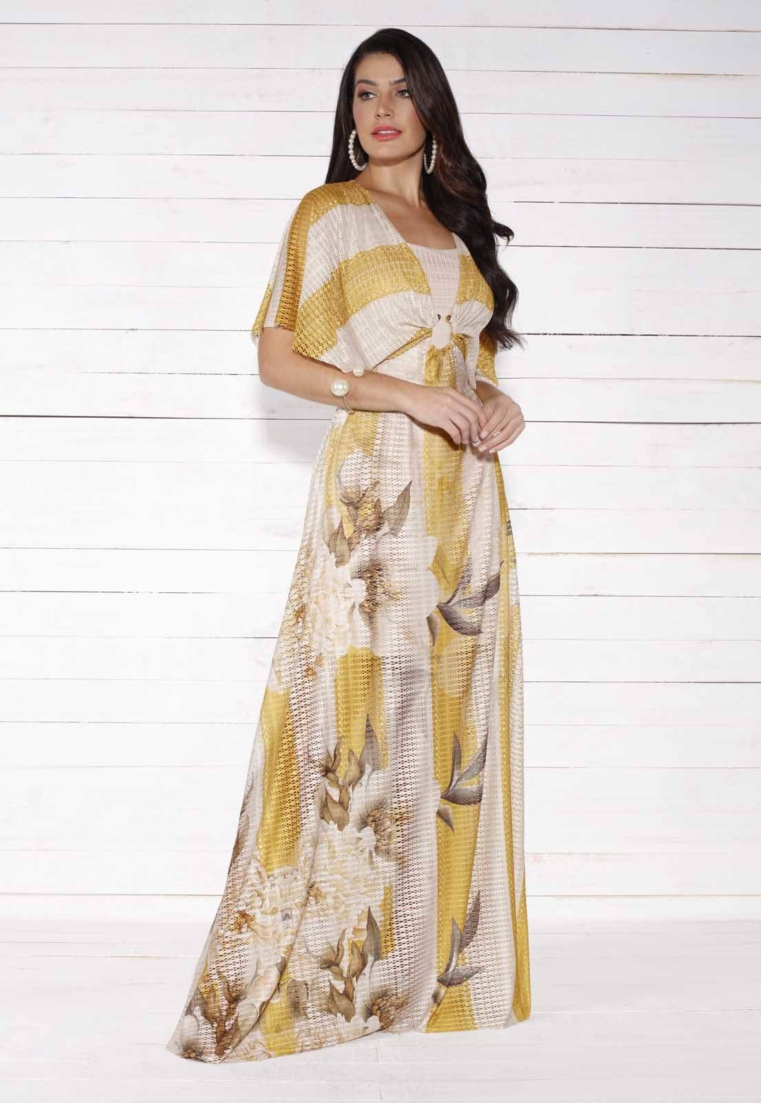 Vestido Longo Renda Telada Fasciniu's Moda Evangélica