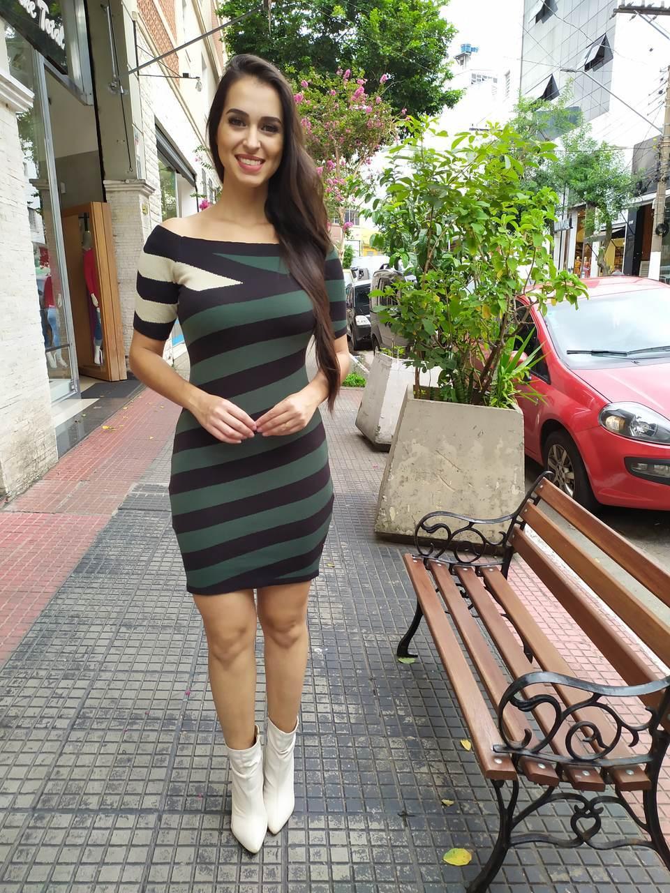 Vestido modal listrado manguinha - 1083