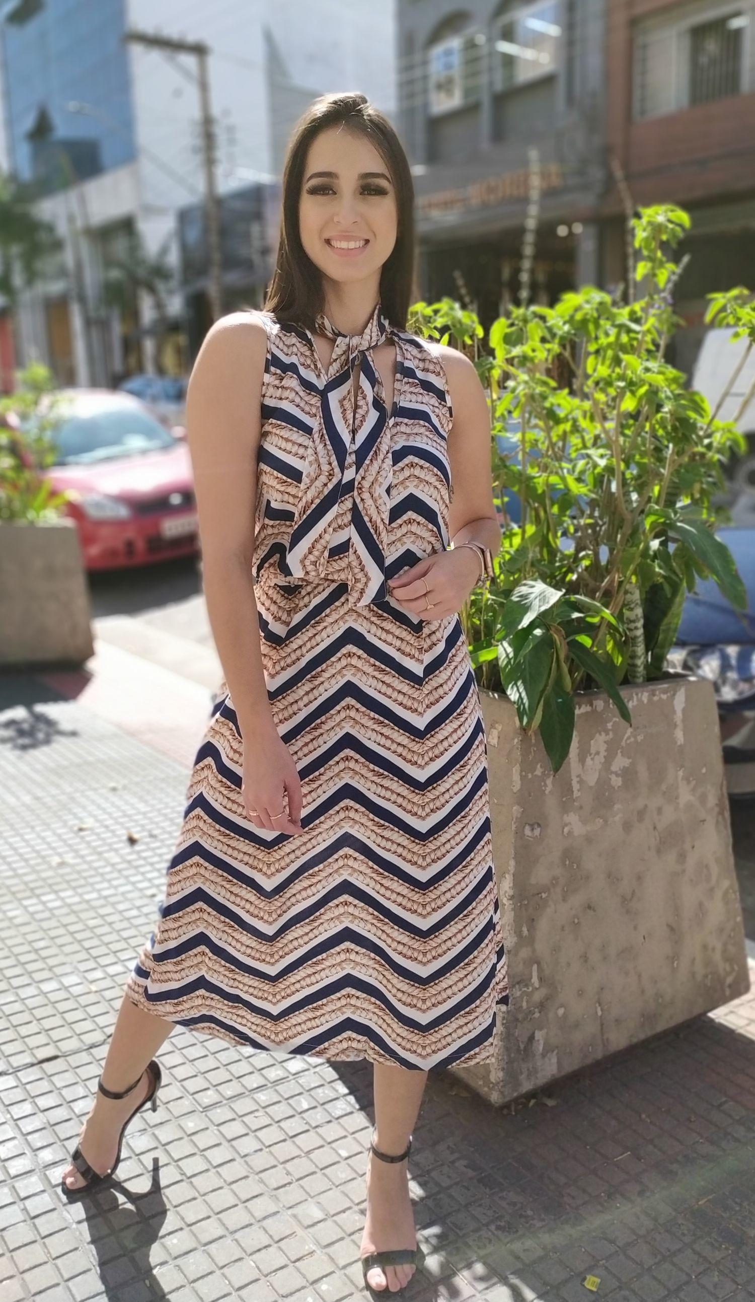 Vestido viscose estampado com amarração - ref 2020