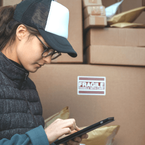 Person, Package Delivery, Cardboard, Box, Carton, Clothing, Apparel, Hat, Cap
