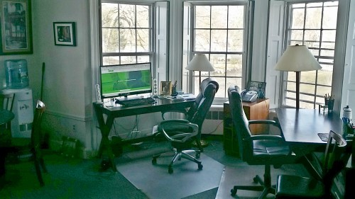 Balcony, Chair, Furniture, Office, Indoors, Desk, Table, Monitor, Screen, Electronics, Computer