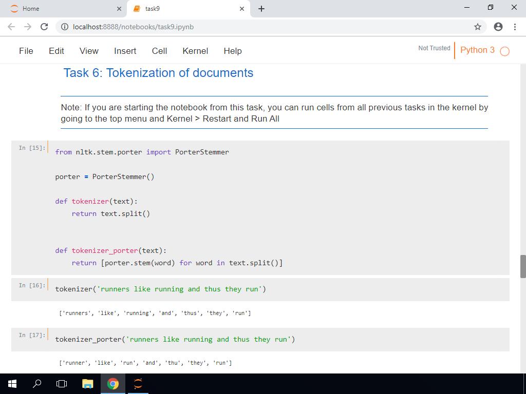 Tokenization of Documents