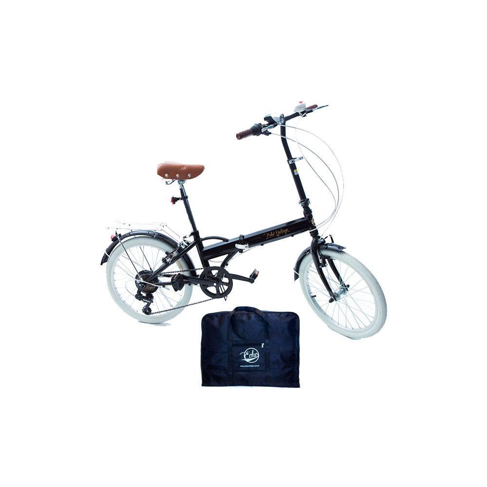 Bicicleta Dobrável Fênix preto + Bolsa Para Transporte