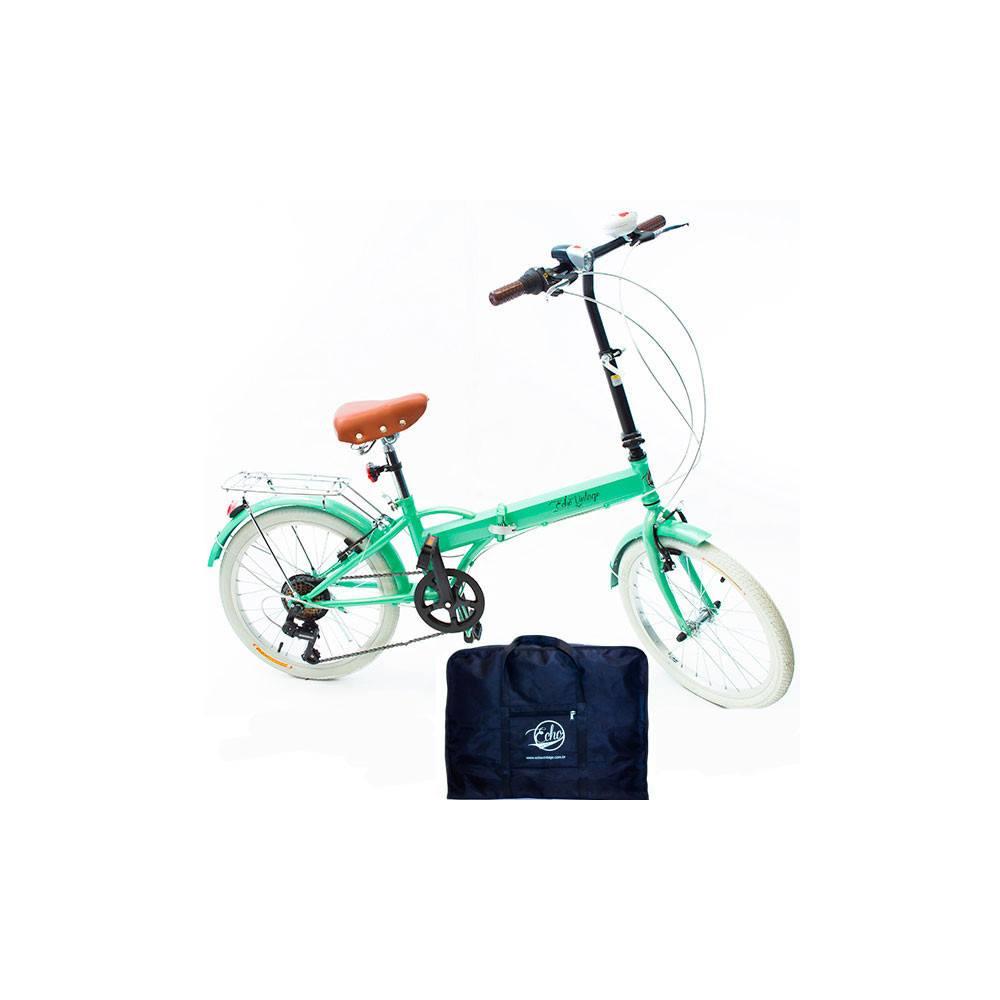 Bicicleta Dobrável Fenix verde + Bolsa Para Transporte