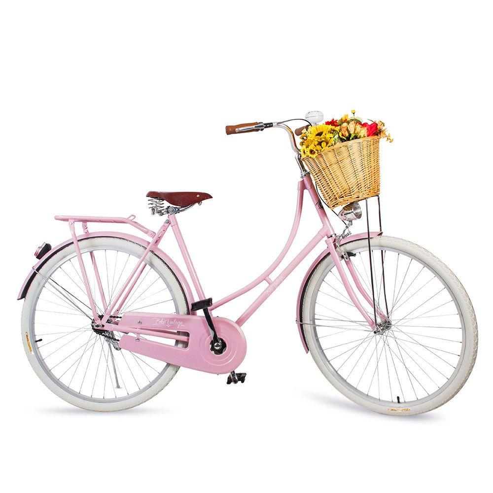 Bicicleta Vintage Retrô - Ísis Plus Rosa Quartzo - Kit Marcha Nexus Shimano - Feminina Aro 28