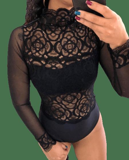 Body Feminino Renda e Viscolycra Manga Tule e Punho Gola Alta com Bojo