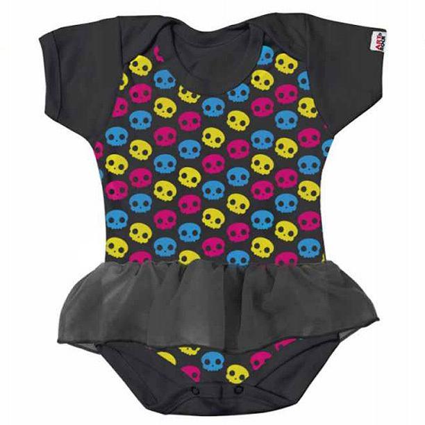 Body Infantil Caveirinhas Color
