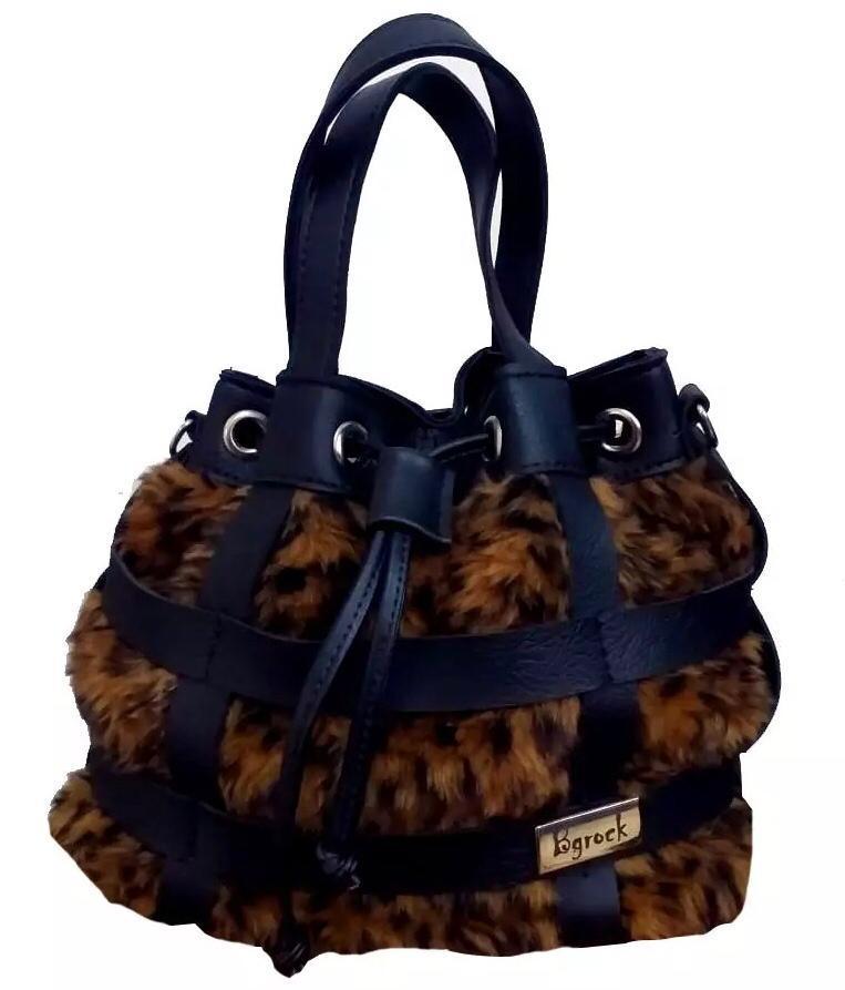 Bolsa Animal Print Onça estilo saco com alça extra transversal