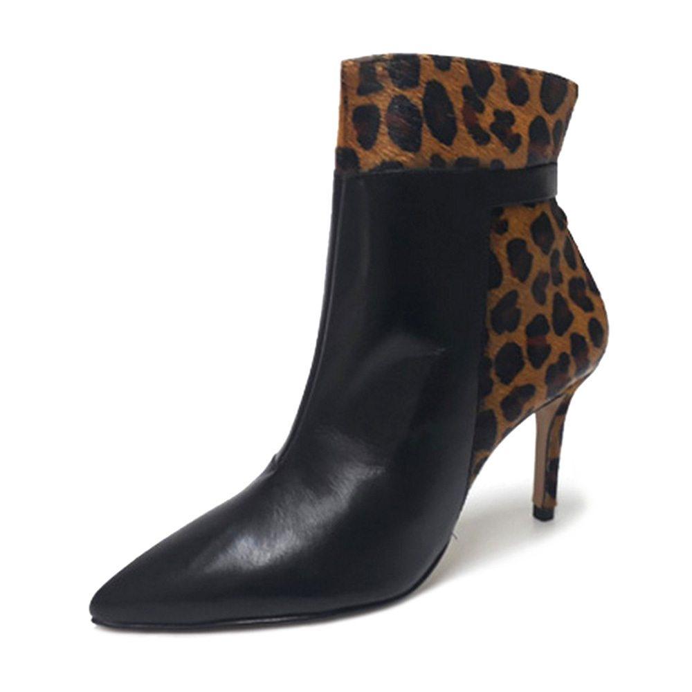 Bota Bico Fino Conceito Fashion 90301 Napa Preta Onça Feminino