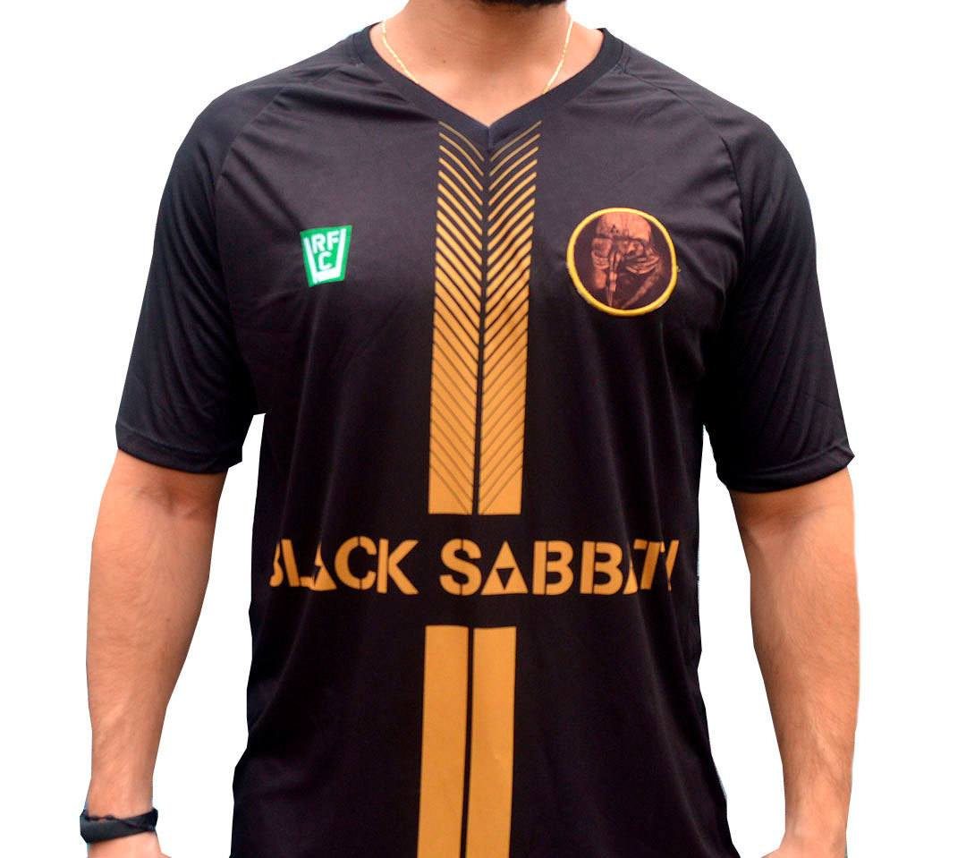Camisa masculina Black Sabbath estilo futebol malha 100% poliester Dry Fit