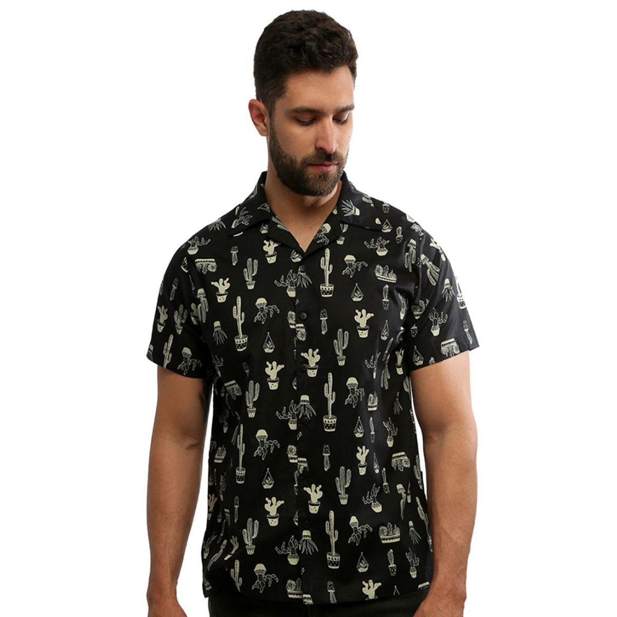 Camisa masculina manga curta estampada com botão 100% algodão Arizona - Hardivision