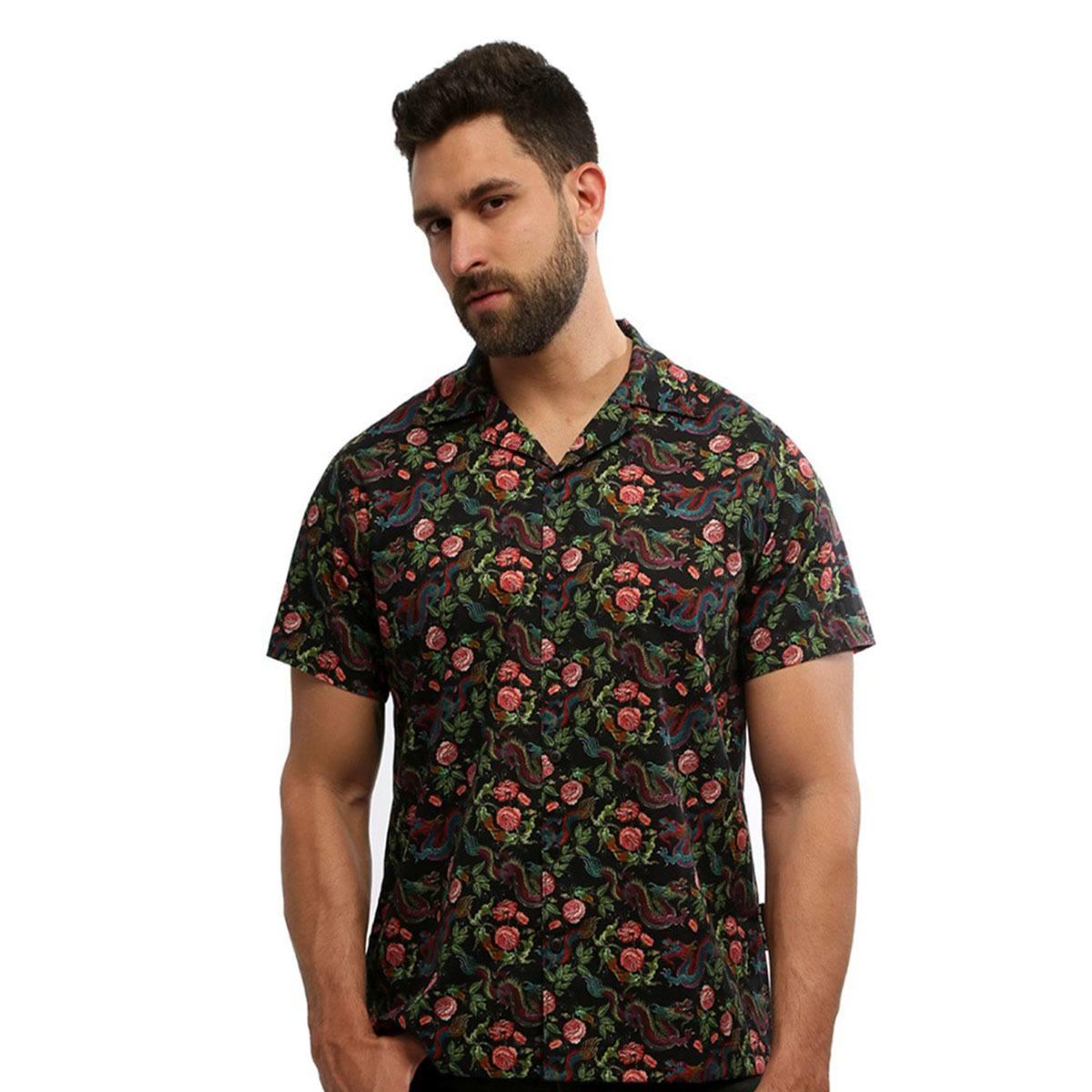 Camisa masculina manga curta estampada com botão 100% algodão Chinatown - Hardivision