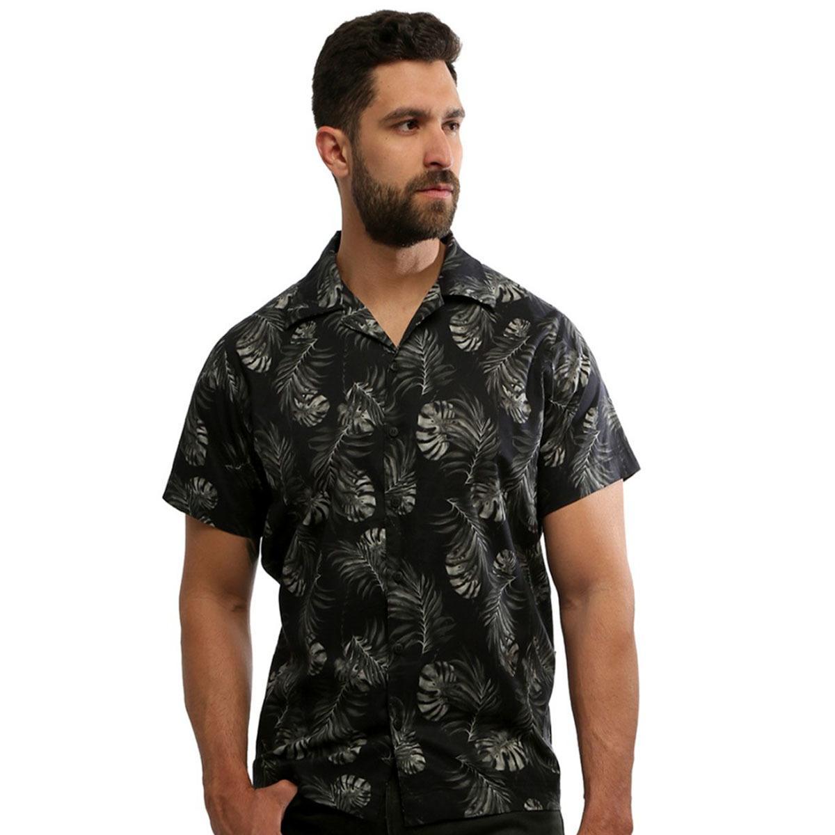 Camisa masculina manga curta estampada com botão 100% algodão Dark Forest - Hardivision