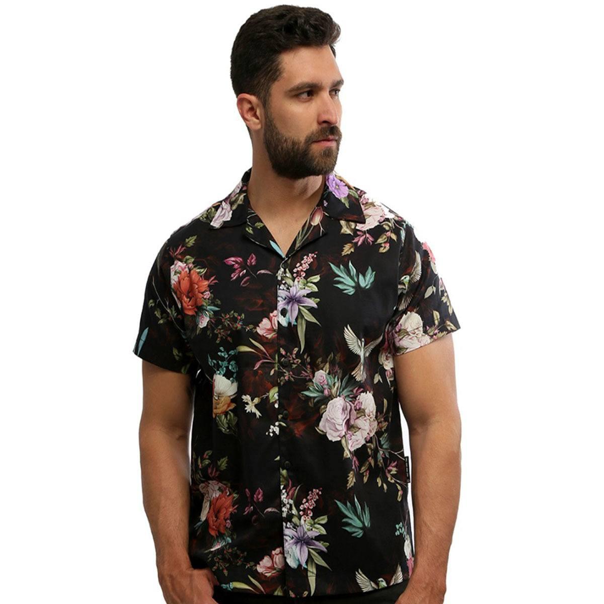 Camisa masculina manga curta estampada com botão 100% algodão Eden - Hardivision