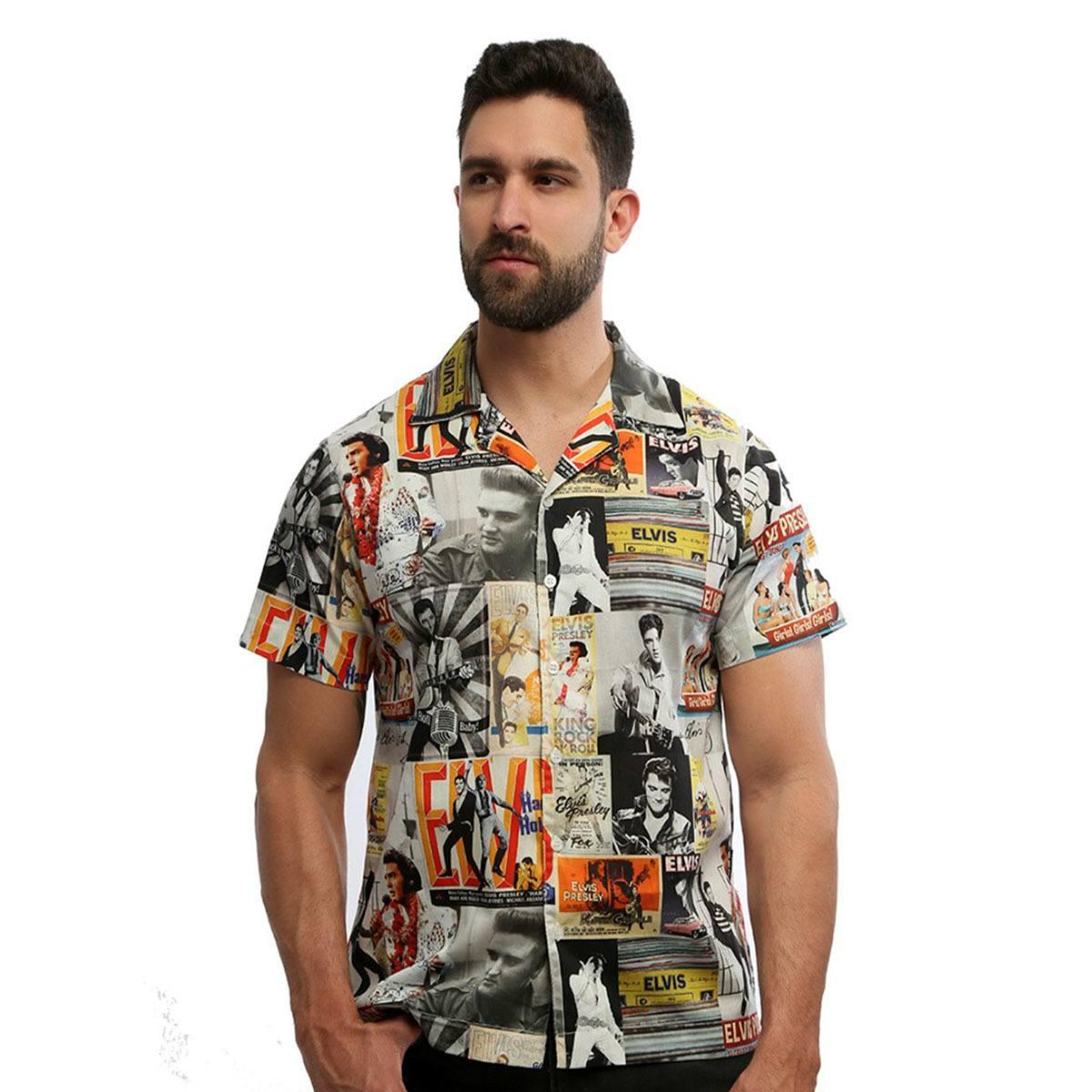 Camisa masculina Elvis manga curta estampada com botão 100% algodão Vintage - Hardivision
