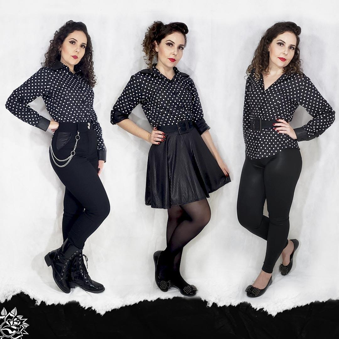 Camisa - Polka Dot - Black