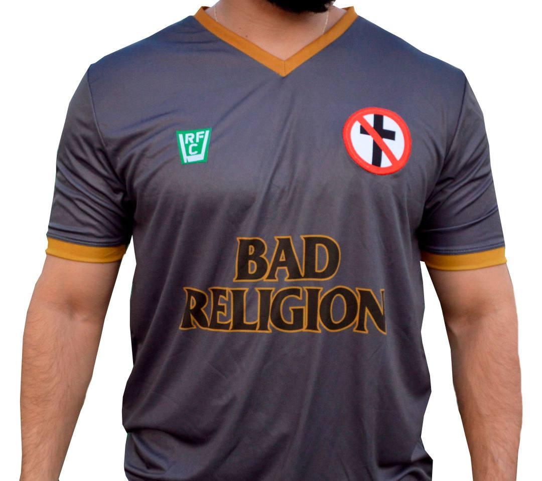 Camisa masculina Bad Religion estilo futebol malha 100% poliester Dry Fit
