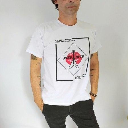 Camiseta Camiseta Rock And Roll All Nite - Branca Unissex