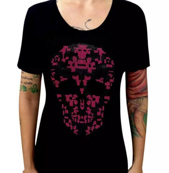 Camiseta Feminina Caveira Rosa