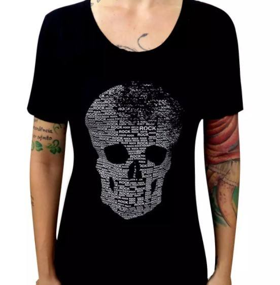 Camiseta Feminina Skull Rock