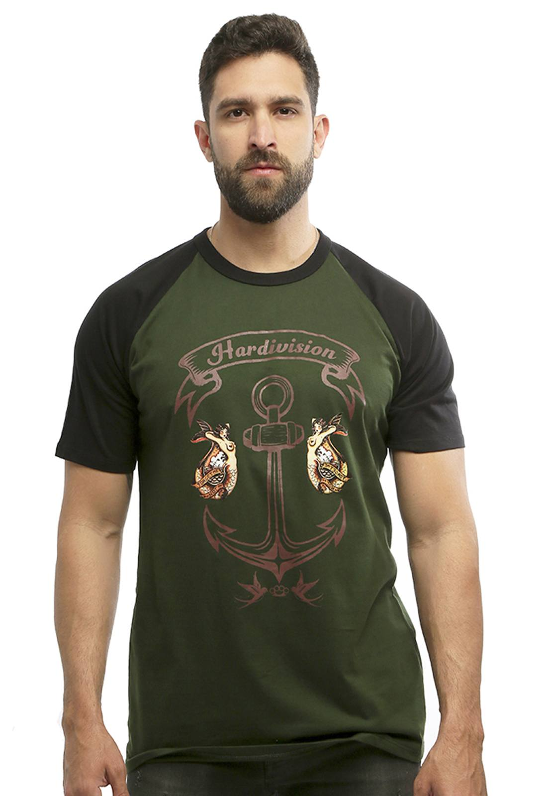 Camiseta masculina verde Âncora Raglan - 100% algodão - Hardivision