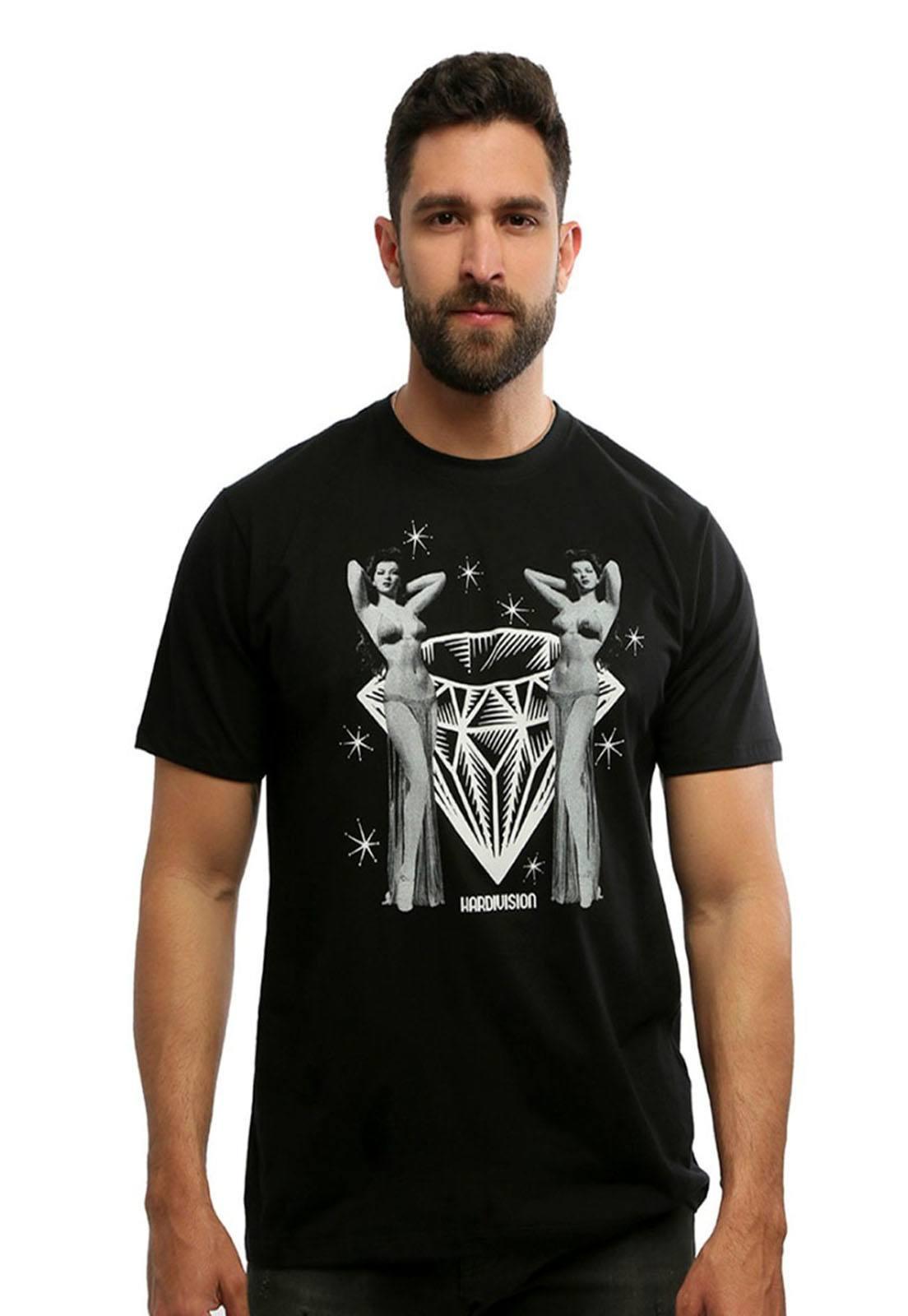 Camiseta masculina preta Burlesque - 100% algodão - Hardivision