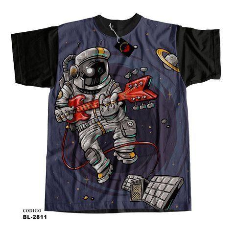 Camiseta infantil astronauta music psicodélico