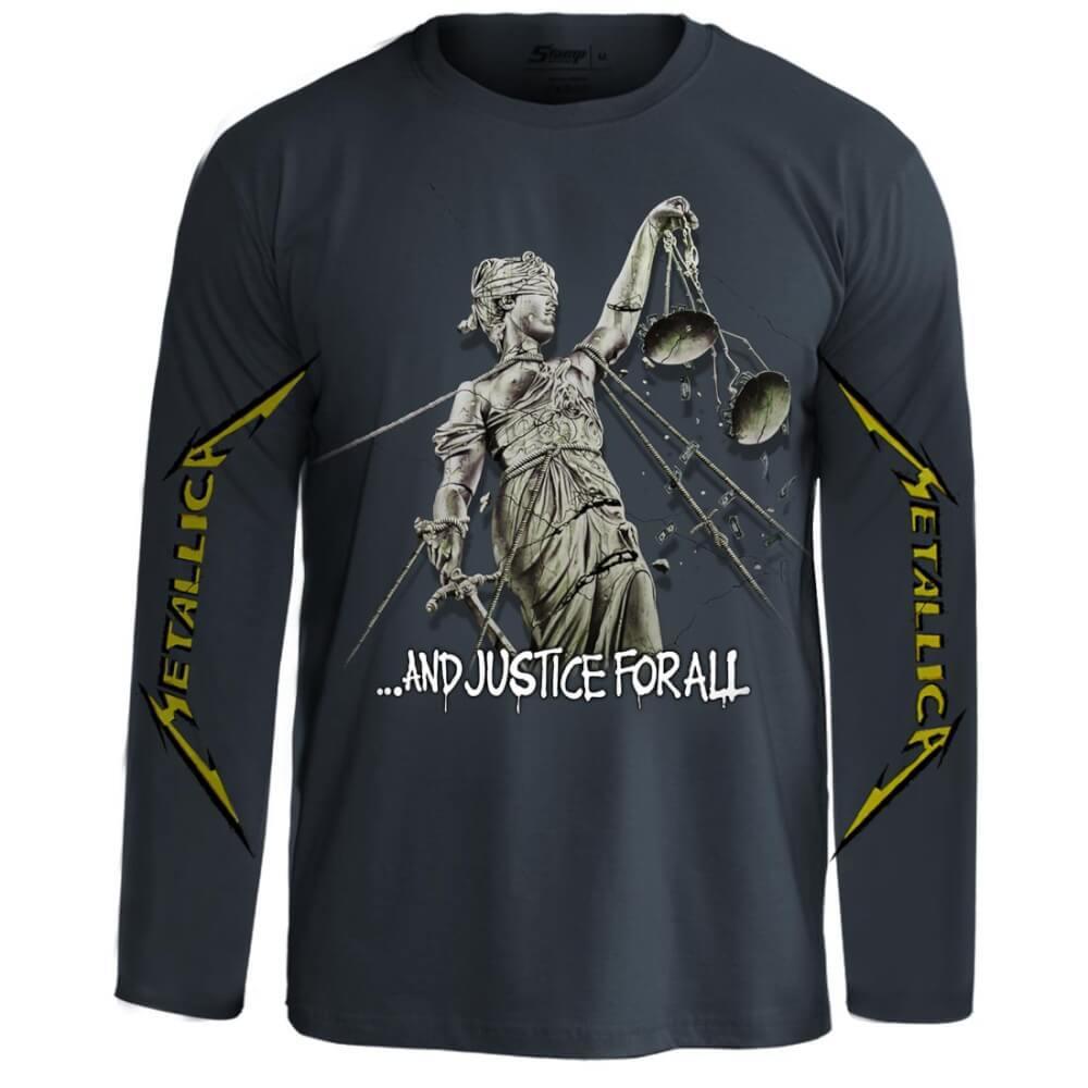 Camiseta Manga Longa Metallica And Justice For all