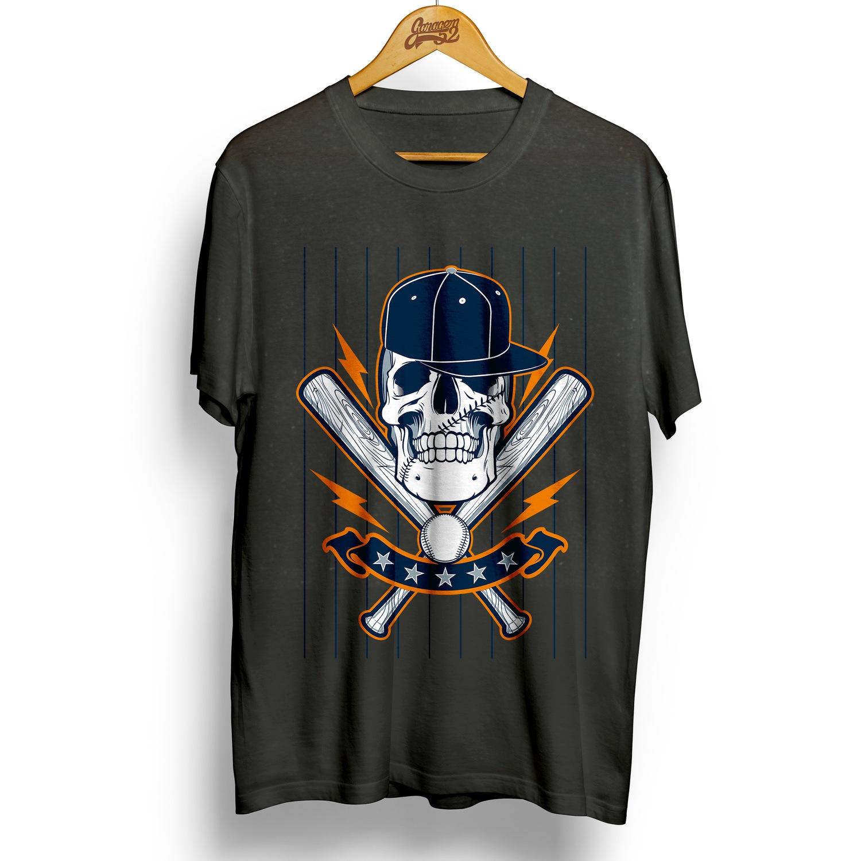Camiseta masculina 100% algodão Caveira Baseball