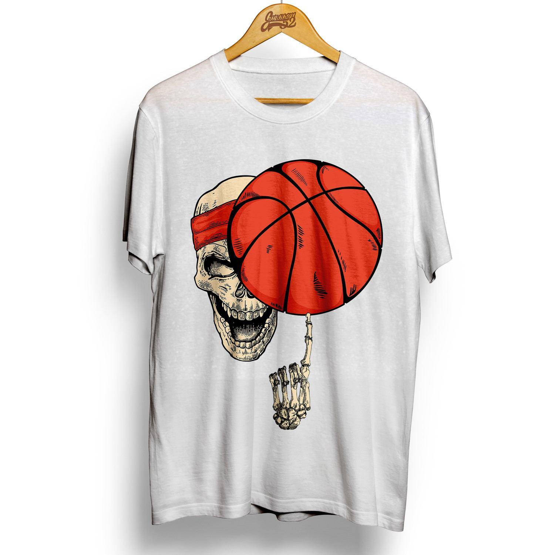 Camiseta masculina 100% algodão Caveira Basketball