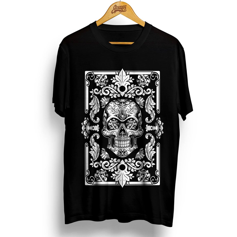 Camiseta masculina 100% algodão Caveira Floral
