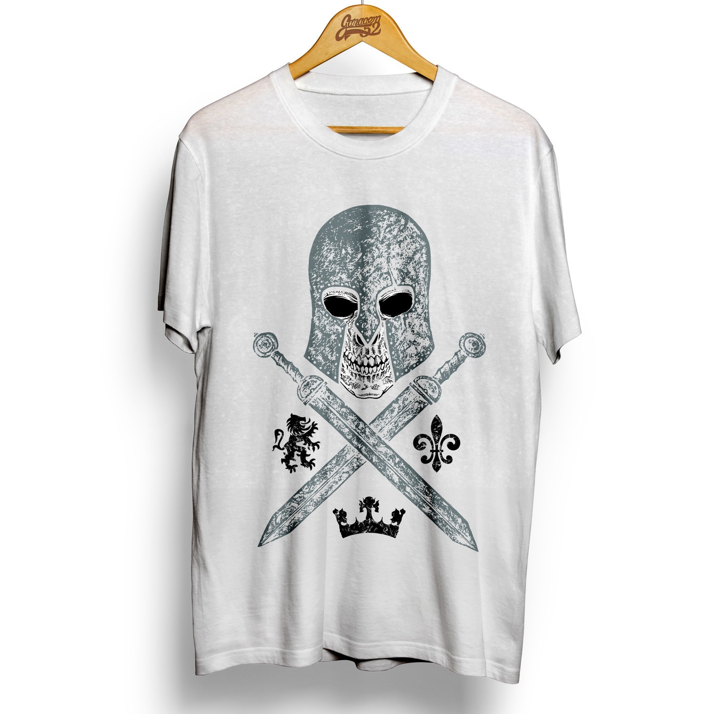 Camiseta masculina 100% algodão Caveira Gladiador