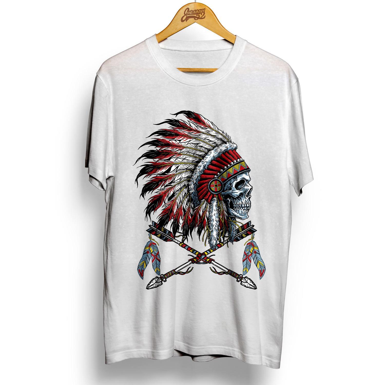 Camiseta masculina 100% algodão Caveira Índio