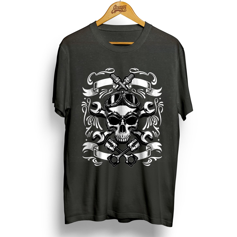 Camiseta masculina 100% algodão Caveira Motociclista