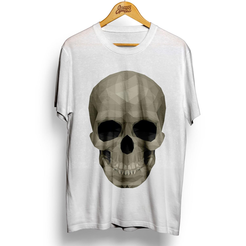 Camiseta masculina 100% algodão Caveira Low Poly