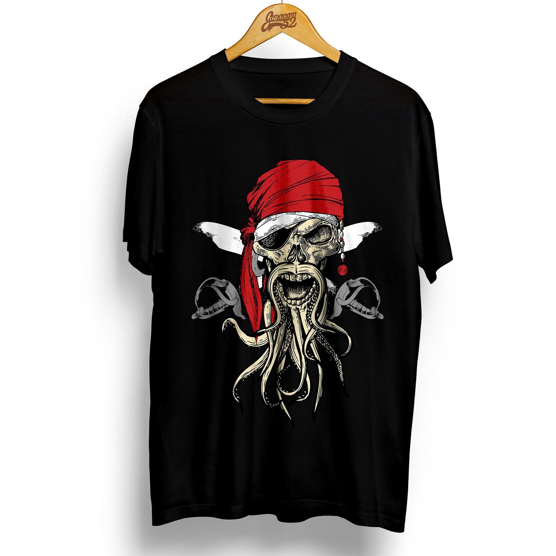 Camiseta masculina 100% algodão Caveira Pirata