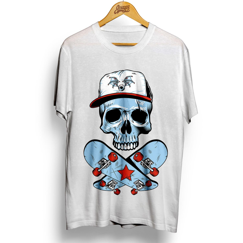 Camiseta masculina 100% algodão Caveira Skatista