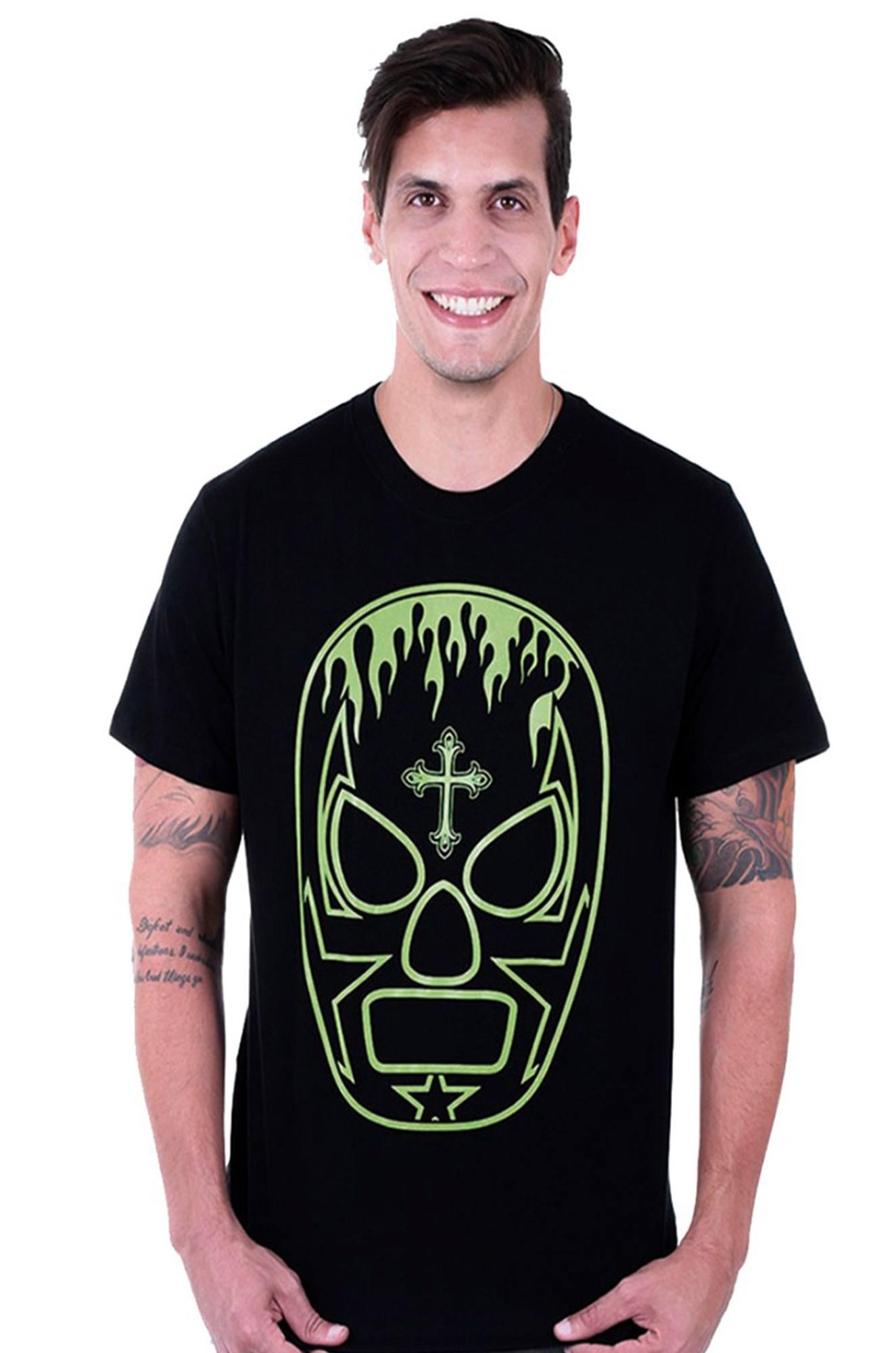Camiseta masculina preta Lucha Libre - 100% algodão - Hardivision