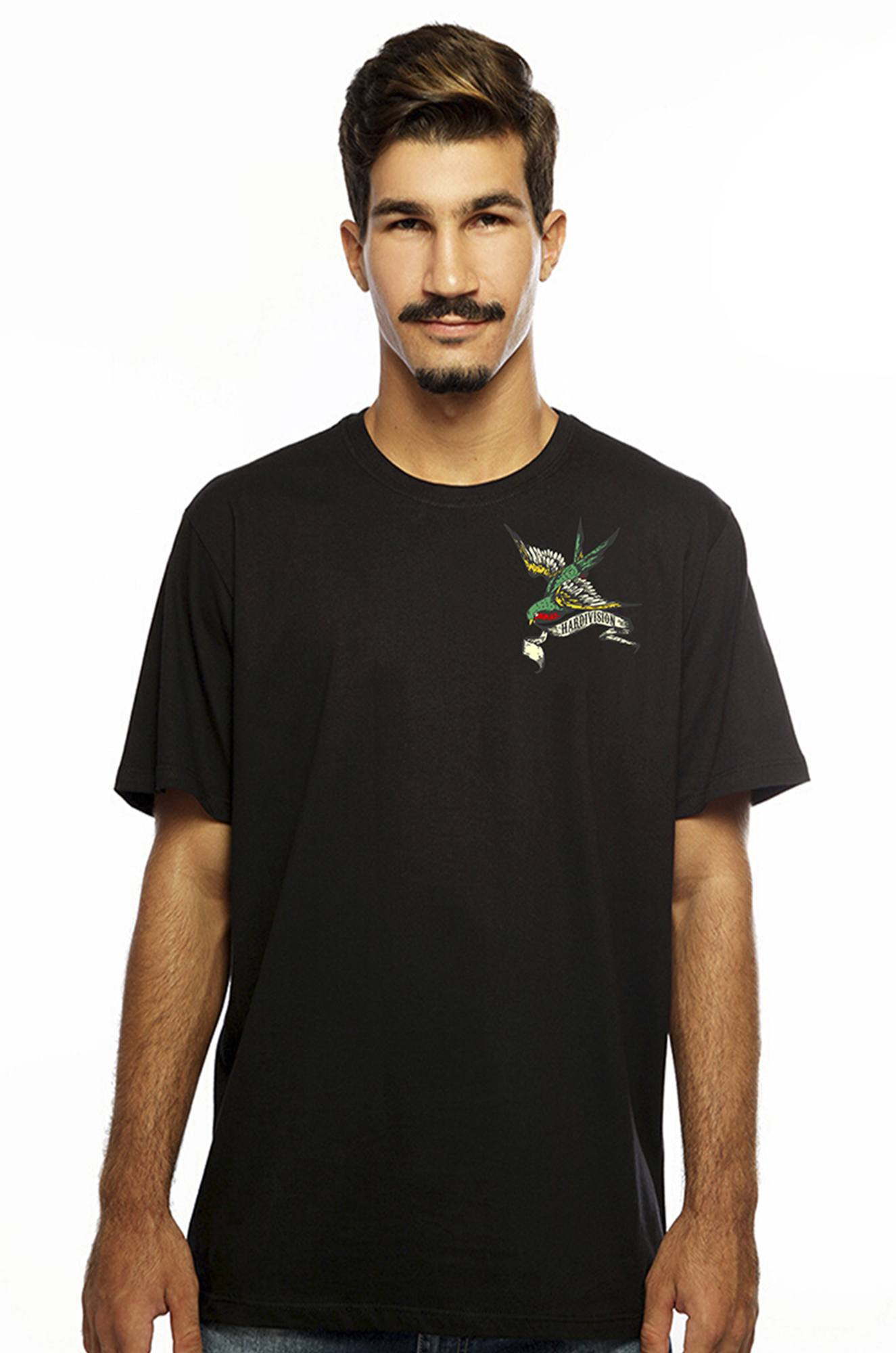 Camiseta masculina preta Hope 100% algodão - Hardivision
