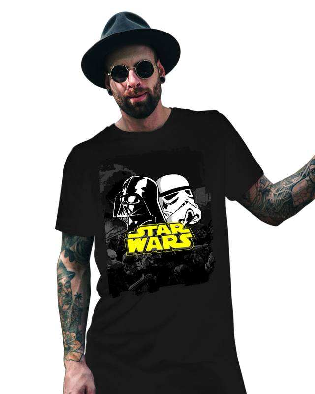 Camiseta Unissex Star Wars Darth Vader & Stormtrooper - Universo HQ - eFull Camisetas