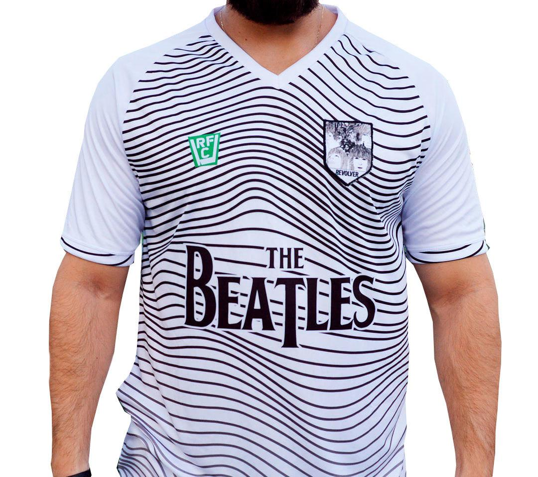 Camisa masculina The Beatles estilo futebol malha 100% poliester Dry Fit