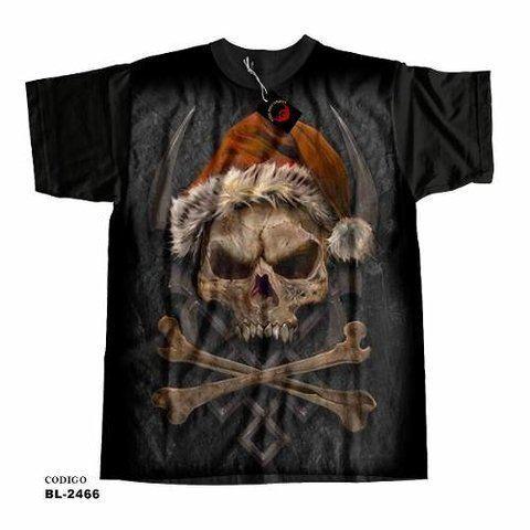 Camiseta Infantil Caveira Natal - Santa Claus Skull