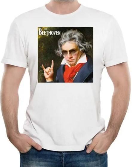 Camiseta Unissex The Beethoven Astro do Rock Branca Premium