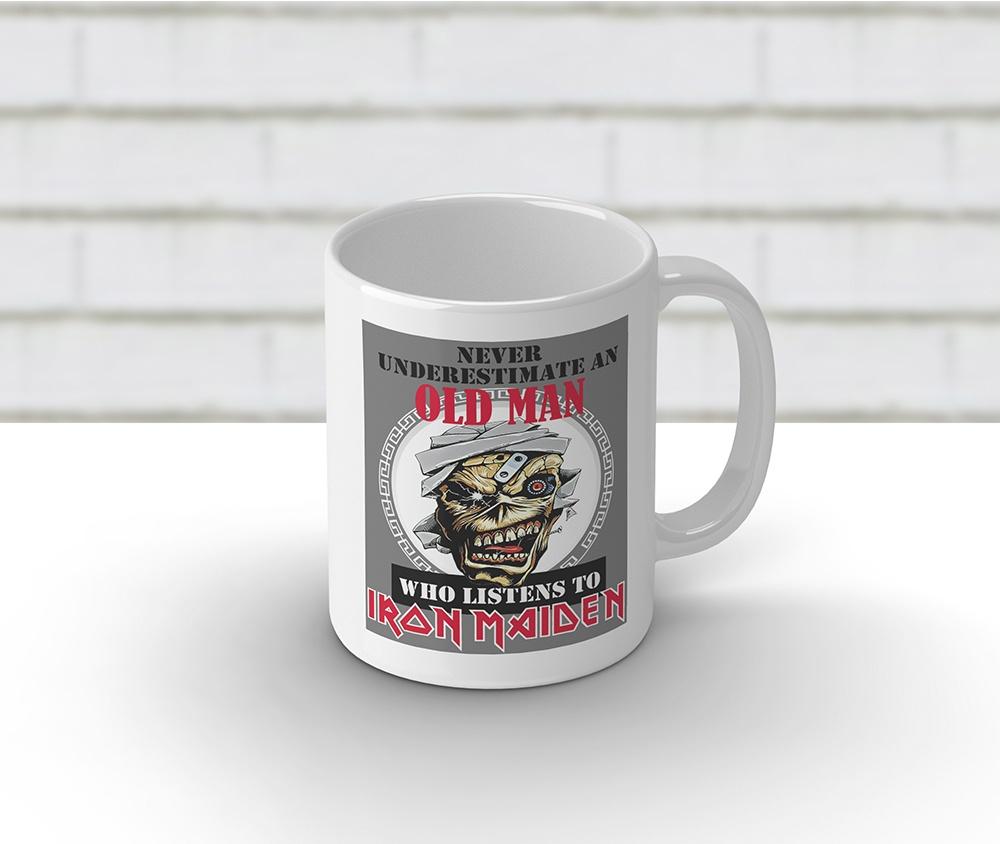 Caneca cerâmica branca 325 ml - Iron Maiden Old Man
