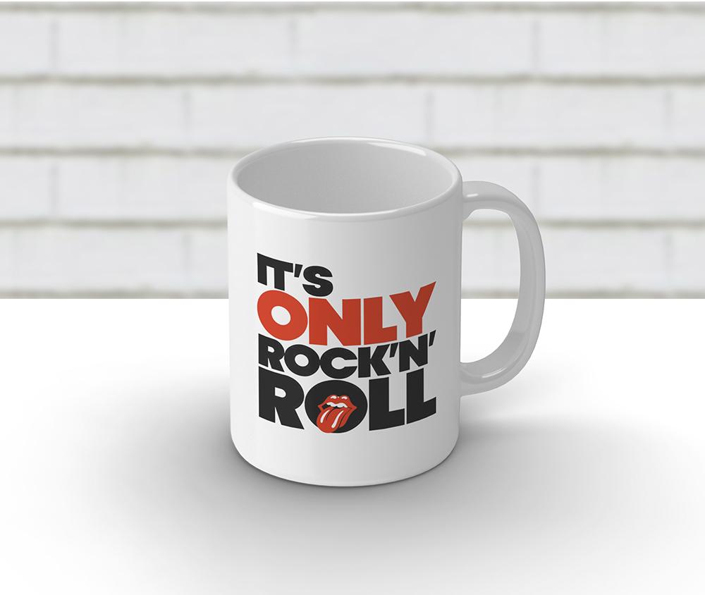 Caneca cerâmica branca 325 ml - It´s Only Rock´n Roll